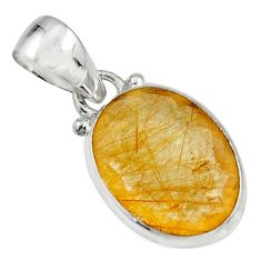10.65cts natural golden rutile 925 sterling silver pendant jewelry r16542
