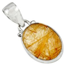 925 sterling silver 9.72cts natural golden rutile oval pendant jewelry r16543