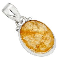 10.08cts natural golden rutile 925 sterling silver pendant jewelry r16544