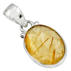 925 sterling silver 9.72cts natural golden rutile oval pendant jewelry r16546