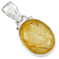 10.02cts natural golden rutile 925 sterling silver pendant jewelry r16547