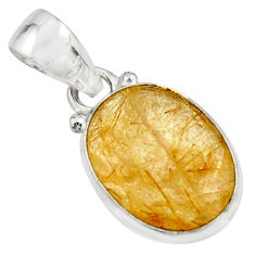 9.72cts natural golden rutile 925 sterling silver pendant jewelry r16548