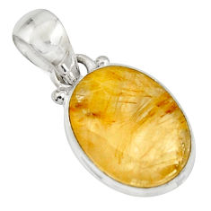 925 sterling silver 10.08cts natural golden rutile oval pendant jewelry r16552