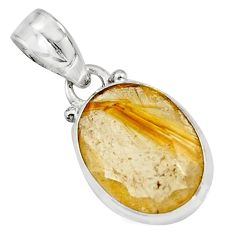 9.72cts natural golden rutile 925 sterling silver pendant jewelry r16557