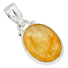 10.08cts natural golden rutile 925 sterling silver pendant jewelry r16558
