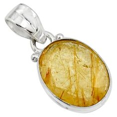9.12cts natural golden rutile 925 sterling silver pendant jewelry r16560