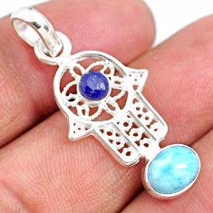 925 silver 2.67cts natural blue larimar oval hand of god hamsa pendant r67944