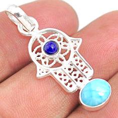 2.50cts natural blue larimar 925 silver hand of god hamsa pendant jewlery r67945