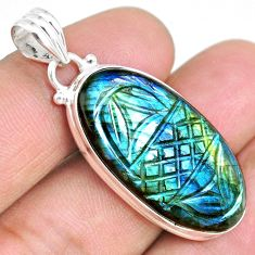 20.51cts carving natural blue labradorite 925 sterling silver pendant r69768