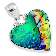 9.34cts multi color sterling opal heart 925 sterling silver pendant r70103