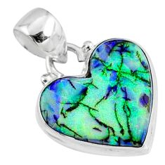 7.82cts multi color sterling opal 925 sterling silver heart pendant r70144