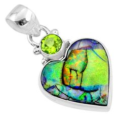 8.33cts multi color sterling opal peridot 925 sterling silver pendant r70222