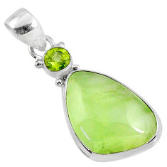 13.15cts natural green prehnite fancy peridot 925 sterling silver pendant r70374
