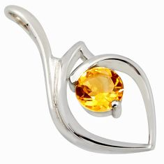 2.78cts natural yellow citrine 925 sterling silver pendant jewelry r7165