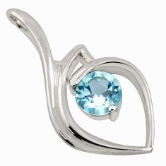 2.95cts natural blue topaz 925 sterling silver pendant jewelry r7169
