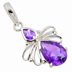 5.54cts natural purple amethyst 925 sterling silver pendant jewelry r7187