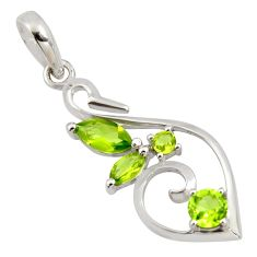 3.59cts natural green peridot 925 sterling silver pendant jewelry r7191