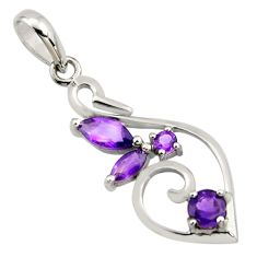 3.32cts natural purple amethyst 925 sterling silver pendant jewelry r7197