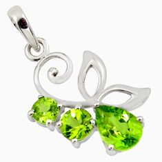 925 sterling silver 5.22cts natural green peridot pendant jewelry r7207