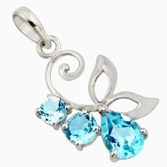 925 sterling silver 4.89cts natural blue topaz pear pendant jewelry r7211