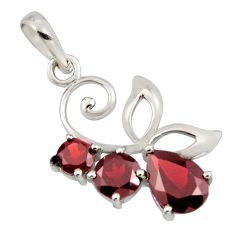 4.89cts natural red garnet 925 sterling silver pendant jewelry r7212