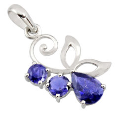 4.89cts natural blue iolite pear 925 sterling silver pendant jewelry r7217