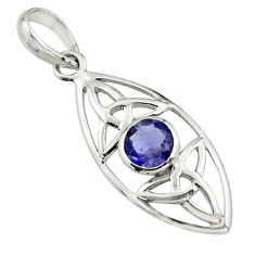 1.22cts natural blue iolite round 925 sterling silver pendant jewelry r7222