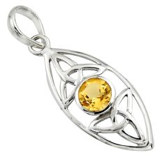 1.35cts natural yellow citrine 925 sterling silver pendant jewelry r7226