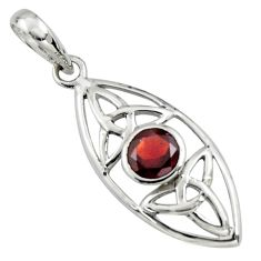 925 sterling silver 1.37cts natural red garnet round pendant jewelry r7231