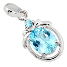 5.45cts natural blue topaz 925 sterling silver pendant jewelry r7250