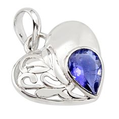 925 sterling silver 2.78cts natural blue iolite pear heart pendant jewelry r7258