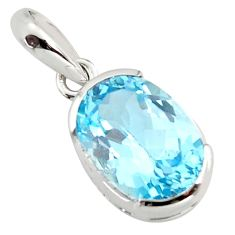 7.30cts natural blue topaz 925 sterling silver pendant jewelry r7266