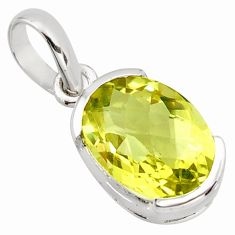 925 sterling silver 6.61cts natural lemon topaz oval pendant jewelry r7277