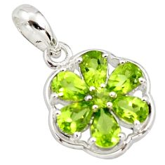 925 sterling silver 6.64cts natural green peridot pendant jewelry r7286