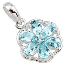 7.01cts natural blue topaz 925 sterling silver pendant jewelry r7295