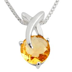 925 sterling silver 3.29cts natural yellow citrine round 18' chain pendant r7307