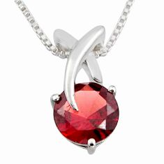 3.26cts natural red garnet 925 sterling silver 18' chain pendant jewelry r7309
