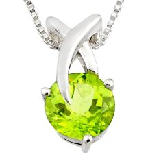 925 sterling silver 3.26cts natural green peridot round 18' chain pendant r7310