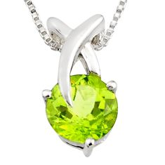 3.26cts natural green peridot 925 sterling silver 18' chain pendant r7311
