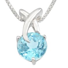 3.48cts natural blue topaz 925 sterling silver 18' chain pendant jewelry r7313