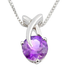 925 sterling silver 3.29cts natural purple amethyst 18' chain pendant r7314
