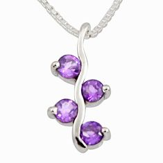1.14cts natural purple amethyst 925 sterling silver 18' chain pendant r7342