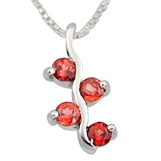1.21cts natural red garnet 925 sterling silver 18' chain pendant jewelry r7349
