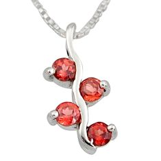 925 sterling silver 1.21cts natural red garnet 18' chain pendant jewelry r7351
