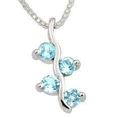 1.21cts natural blue topaz 925 sterling silver 18' chain pendant jewelry r7354