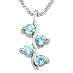 1.20cts natural blue topaz 925 sterling silver 18' chain pendant jewelry r7399