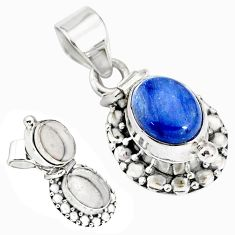 4.02cts natural blue kyanite oval 925 sterling silver poison box pendant r75954