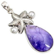 22.23cts natural purple tiffany stone pearl 925 silver star fish pendant r7901