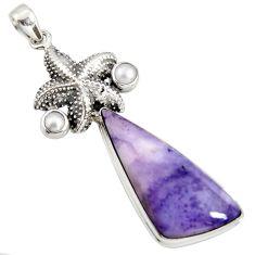 24.73cts natural purple tiffany stone pearl 925 silver star fish pendant r7903