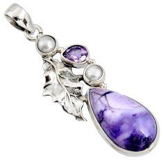 16.70cts natural purple tiffany stone 925 silver deltoid leaf pendant r7907